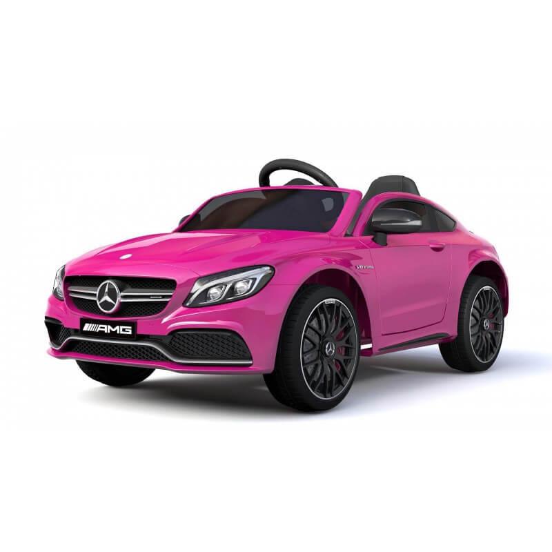 coche-electrico-para-ninos-mercedes-c63-con-licencia-oficial-bateria-12v-rosa