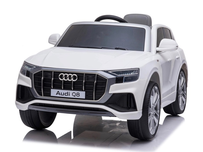 coche-eléctrico-para-ninos-Audi-Q8-licencia-oficial-blanco