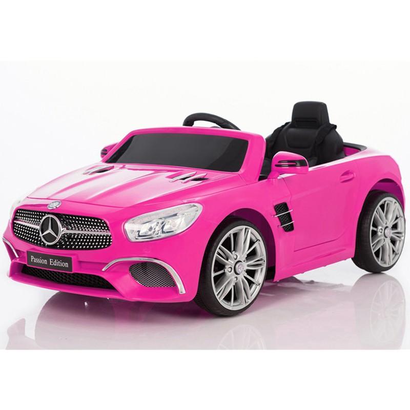 coche-electrico-para-ninos-mercedes-sl400-bateria-12v-cinturón-arnés-licencia-oficial-rosa
